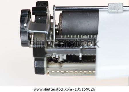 Close up  vintage typewriter detail - stock photo