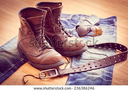 Close up vintage workwear clothing - stock photo