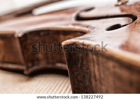 close-up violin - stock photo