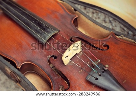 close up violin in vintage style