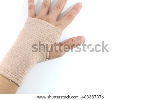 Close Up Wearing Supportive Orthopedic Wrist Brace show hand back with White Background