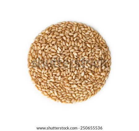Close up , Wheat pile heap , isolated on white background - stock photo