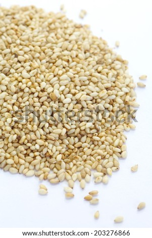 Close - up White sesame seeds , Food ingredient