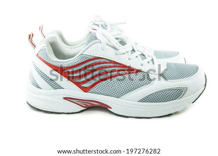 Close up white sneakers  on white background - stock photo