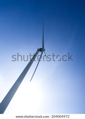 Close up wind turbine. Renewable energy source