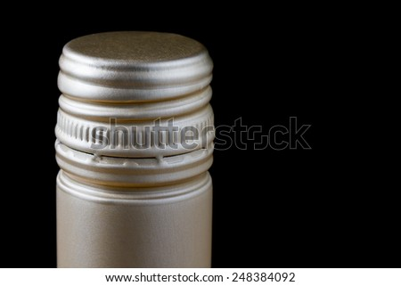 Close up wine bottle screw cap - stock photo