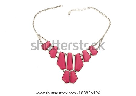 Close up with a pink necklace isolated - stock photo