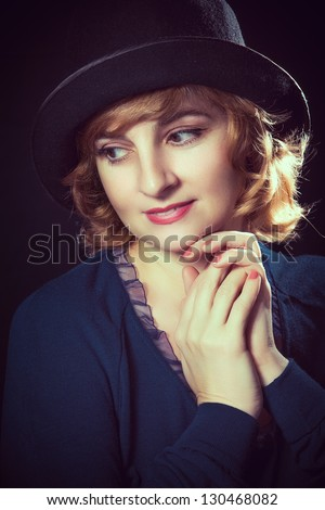 Close up Woman Portrait Retro Style - stock photo