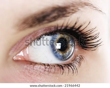 close-up woman's eye (shallow DoF) - stock photo