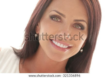 Close-up. Woman with beautiful face - stock photo