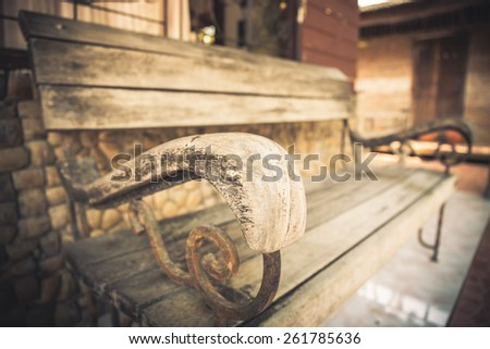 Close-up wooden bench Soft Warm - stock photo