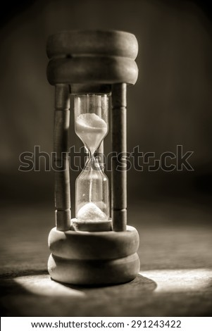 Close up wooden hourglass