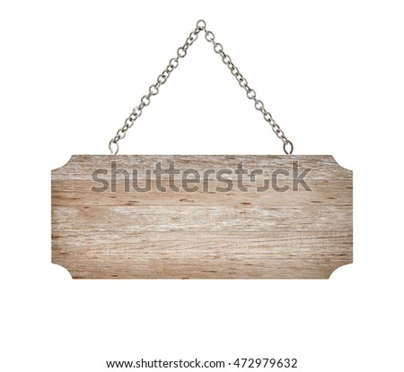 close up wooden sign with chain isolated on white background