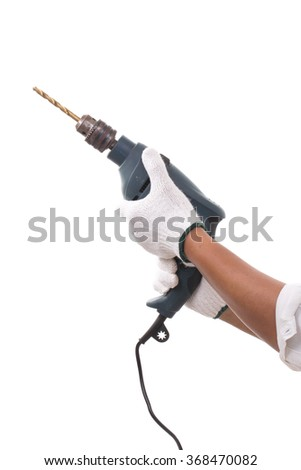 Close up Worker with tool. Isolated white background - stock photo