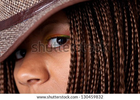 close-up young black woman portrait - stock photo