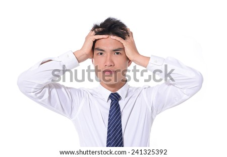 Close up Young business man having stress  - stock photo