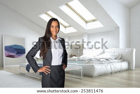 Close up Young Business Woman in Black and White Office Attire Standing at the Architectural White Lounge Room. 3D Rendering - stock photo