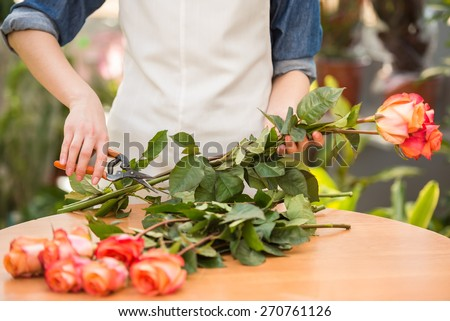 Close-up. Young female florist cutting a roses at flower shop. - stock photo