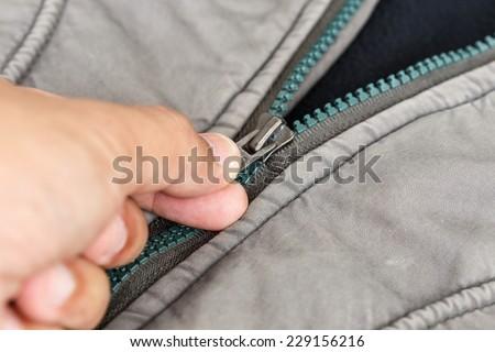 Close up zip - stock photo