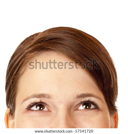 Close-upo of head of beautiful woman looking happy up. Isolated on white background.