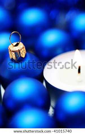 close-ups of Christmas balls and candles - Christmas time