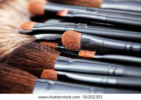 close-ups of make-up brushes - beauty treatment