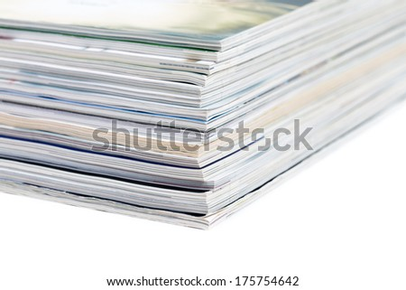close-ups of stack of colorful magazines - publications