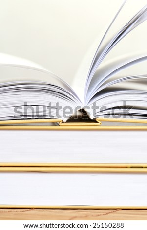 close-ups of three books