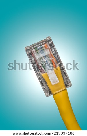 close upshot of lan cable networking - stock photo