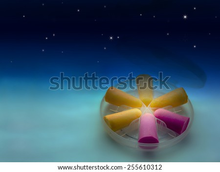 Close view of anti bruits protection mousse in a nightly gradient background - stock photo
