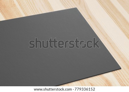 Close view black business card on stock illustration 779336152 close view of black business card on wooden desk 3d render template to showcase your wajeb Image collections