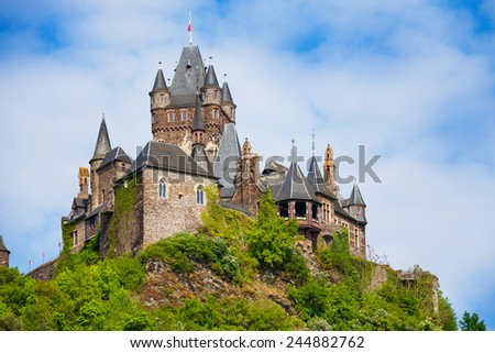 Close view of Cochem Imperial castle - stock photo