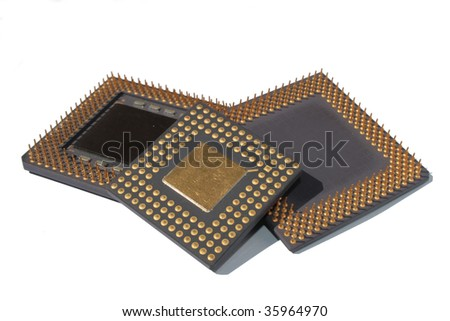 Close view of Computer CPU. Processors on white background.