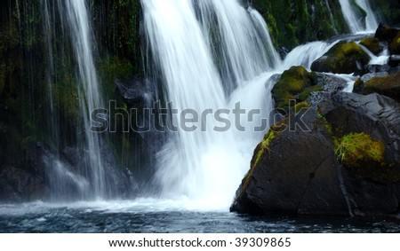 Close view of falling water - stock photo