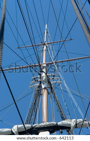 close view of masts and rigging of an old war ship Uss Constitution, Boston, Massachusetts - stock photo