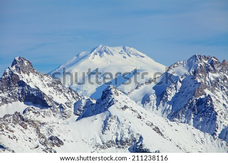 Close view of Mount Elbrus summit that Is a dormant volcano located in the western Caucasus mountain range, Russia. - stock photo