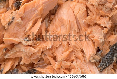 Close view of Pacific canned pink salmon.