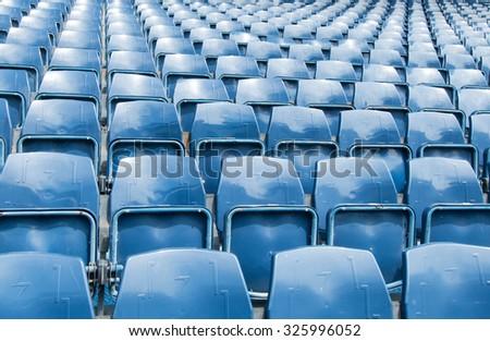 close view of seats of stadium - stock photo