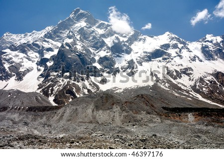 close view of snow clad mountain peak with glaciers and moraines