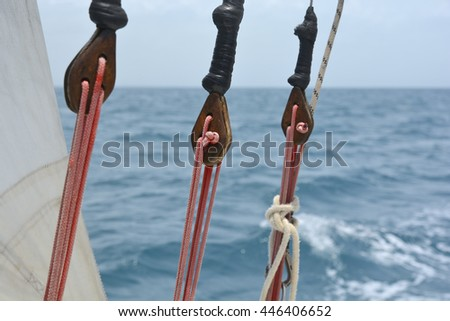 Close view of some rigging on a sailing boat - stock photo