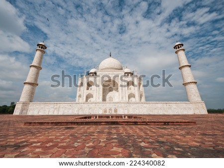 Close view of Taj Mahal, Agra, India. Taken with wide angle lens - stock photo