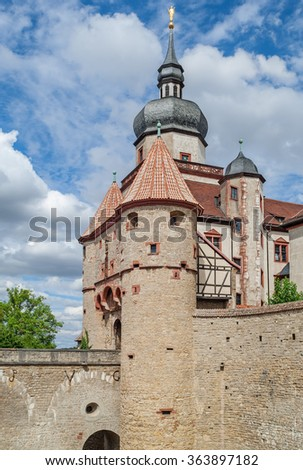 "Close view of the ancient castle ""Marienberg"" of Wuerzburg in Bavaria - stock photo"