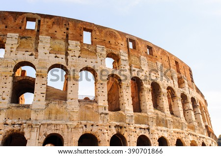 Close view of the Colosseum of Rome, Italy