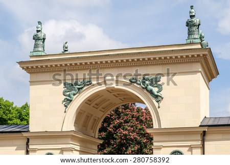 """Close view of the historic portal at the place """"Odeonsplatz"""" in Munich in Bavaria - stock photo"""