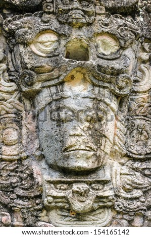 Close view of the one of the gods of Maya Civilization, Copan, UNESCO World Heritage Site, Honduras, Central America - stock photo