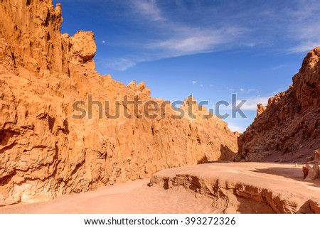 Close view of the Rock formations of the Moon Valley, Atacama Desert, Chile, South America