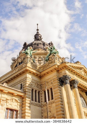 Close view of the Szechenyi Thermal Bath in Budapest, Hungary - stock photo