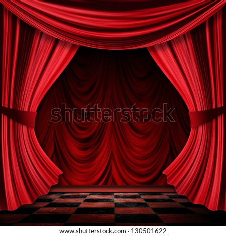 Close view of vintage decorative red theater stage curtains. - stock photo