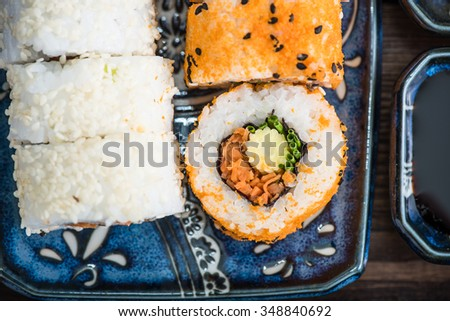 Close view on california vegetarian rolls, vibrant japanese food - stock photo