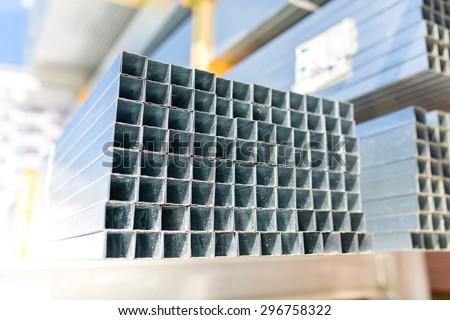 Close view on the steels profiles on a stack - stock photo